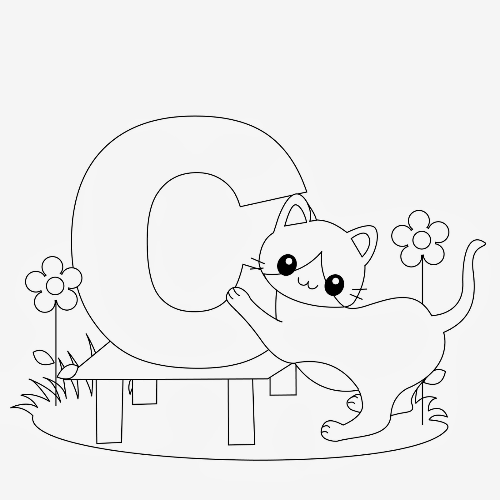 Printable Alphabet Coloring Pages Cat
