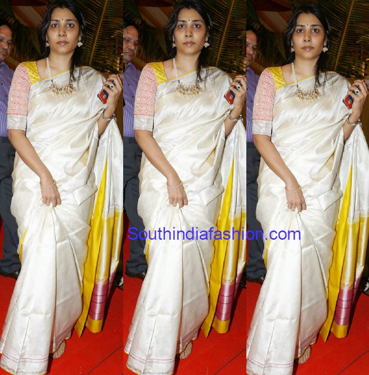 cream color kanjeevaram saree
