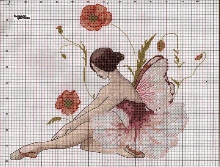 Схемы балерин вышивок крестом 737
