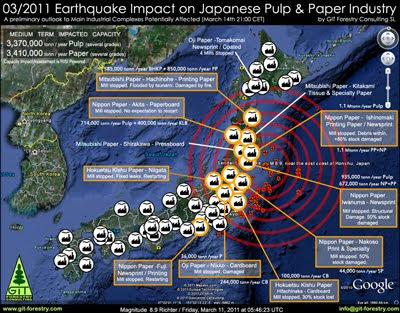 2011 Japan Earthquake Impact on Japanese Pulp and Paper Industry Damage Report Map / Mapa de Impacto del Terremoto de Japon 2011 en la industria de pulpa celulosica y de papel del Japon / パルプ紙2011年の日本地震の影響の予備的な地図セルロース日本 / เยื่อแผ่นดินไหวญี่ปุ่นและแผนที่อุตสาหกรรมกระดาษ / Япония 2011 целлюлозно землетрясения и карта бумажной промышленности / Mapa de Impacto do Terramoto de Japão  2011, na industria do papel e celulose do Japão / RISI The Leading Information Provider for the Global Forest Industry / Gustavo Iglesias Trabado, GIT Forestry Consulting SL, Consultoria y Servicios de Ingenieria Agroforestal, Lugo, Galicia, España, Spain / Eucalyptologics, Information resources on sustainable eucalypt cultivation worldwide / Recursos de informacion sobre el cultivo sostenible del eucalipto en el mundo