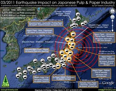 2011 Japan Earthquake Impact on Japanese Pulp and Paper Industry Damage Report Map / Mapa de Impacto del Terremoto de Japon 2011 en la industria de pulpa celulosica y de papel del Japon / パルプ紙2011年の日本地震の影響の予備的な地図セルロース日本 / เยื่อแผ่นดินไหวญี่ปุ่นและแผนที่อุตสาหกรรมกระดาษ / Япония 2011 целлюлозно землетрясения и карта бумажной промышленности / Mapa de Impacto do Terramoto de Japão  2011, na industria do papel e celulose do Japão / RISI The Leading Information Provider for the Global Forest Industry / Gustavo Iglesias Trabado, GIT Forestry Consulting SL, Consultoria y Servicios de Ingenieria Agroforestal, Lugo, Galicia, España, Spain / Eucalyptologics, Information resources on sustainable eucalypt cultivation worldwide / Recursos de informacion sobre el cultivo sostenible del eucalipto en el mundo