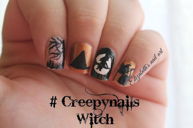diseño en uñas halloween brujas