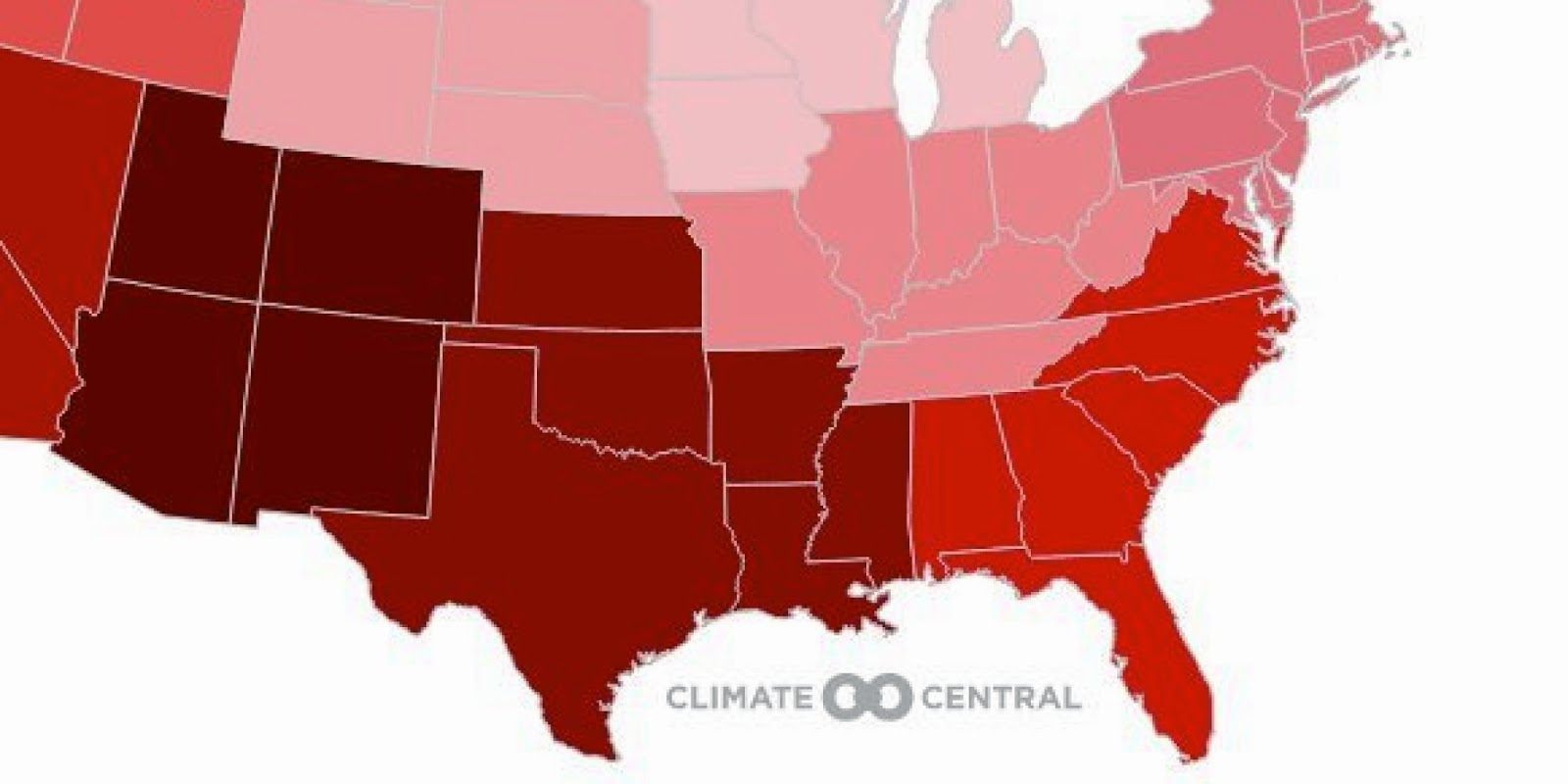 Average summer temperatures have been rising in every region since 1970. The map shows the rate at which summers have been warming in every region of the country since then. (Credit: www.huffingtonpost.com) Click to enlarge.