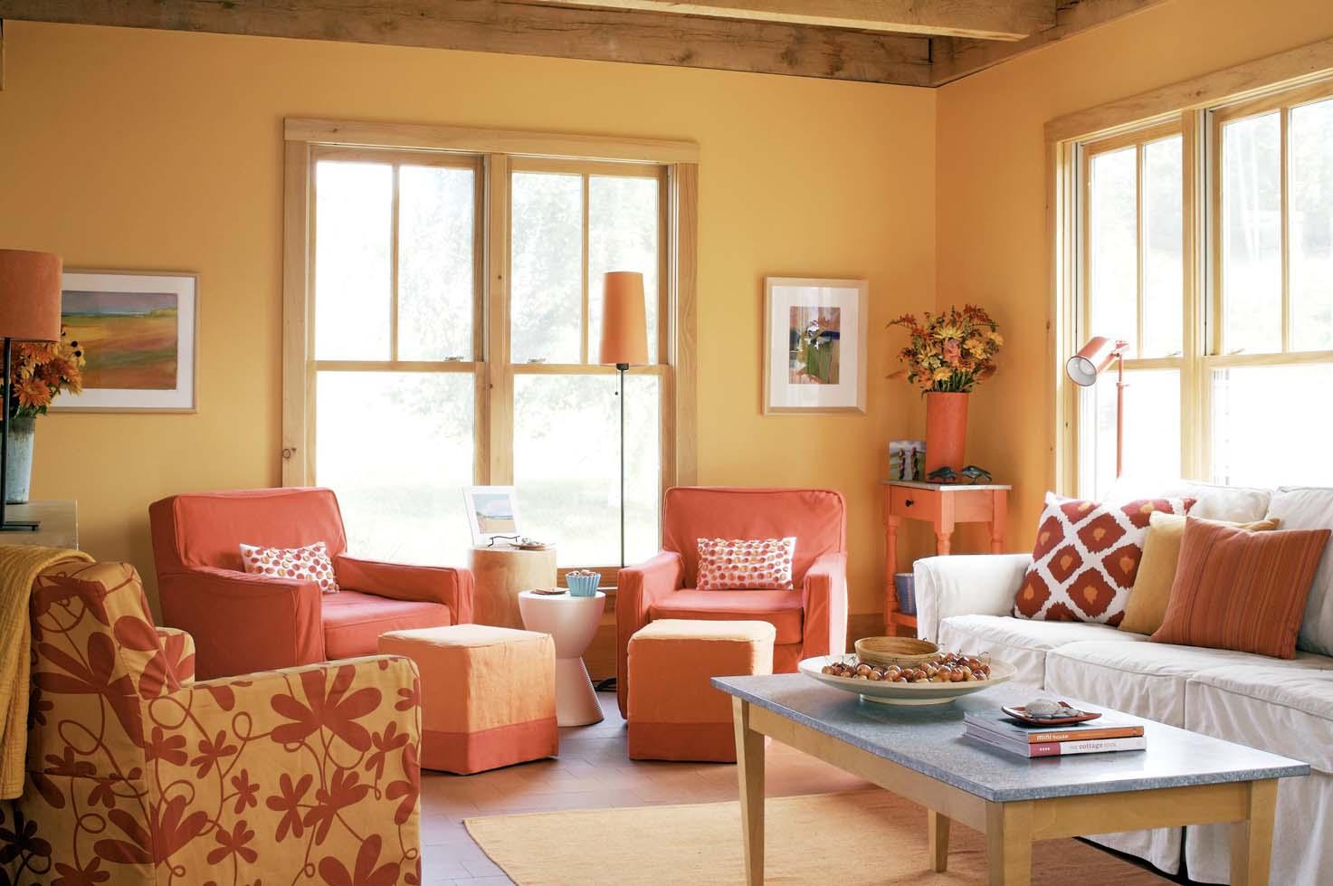 decoracion sala de estar naranja id ias