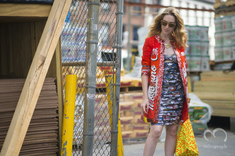 woman after Jeremy Scott show during New York Fashion Week 2015 Spring Summer NYFW