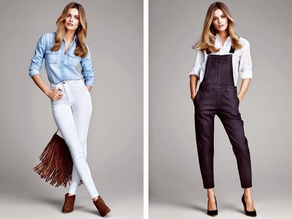 pantalones de moda H&M talle alto y pantalones peto vaquero
