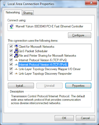 LAN version properties when viewing networking tab setting