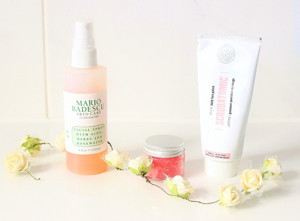 Soap and Glory Scrubatomic Daily Face Polish Mario Badescu Facial Spray with Aloe Herbs and rosewater