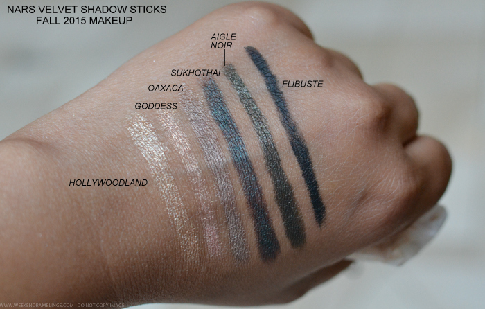 NARS Private Screening Fall 2015 Makeup Collection Swatches Velvet Shadow Sticks Hollywoodland Goddess Oaxaca Sukhothai Aigle Noir Flibuste