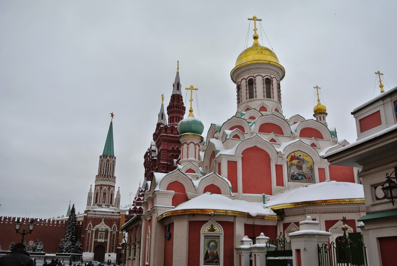 Church and Kremlin tower, Red Square, Moscow