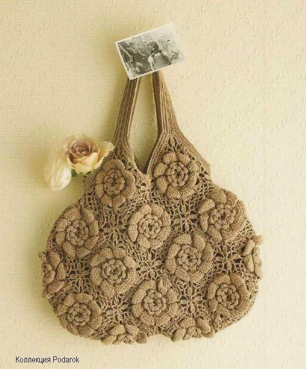 Bolso tejido al crochet con grannys florales , con esquemas y patrones