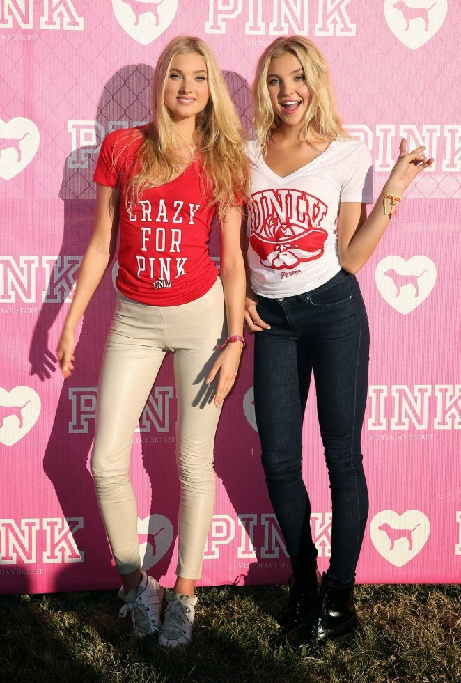 Elsa Hosk and Rachel Hilbert at the Victoria's Secret PINK Nation Event