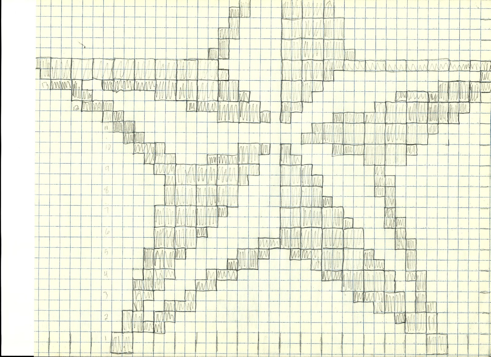 Crochet Patterns On Graph Paper : Heres what it looks like crocheted in a basic two color format: