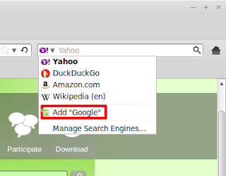 change search engine firefox Linux mint