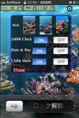 Aquarium Settings Option