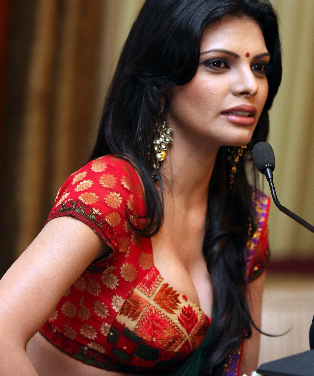 Sherlyn Chopra Hot in saree Cleavage & Navel Show at Playboy Magazine ...