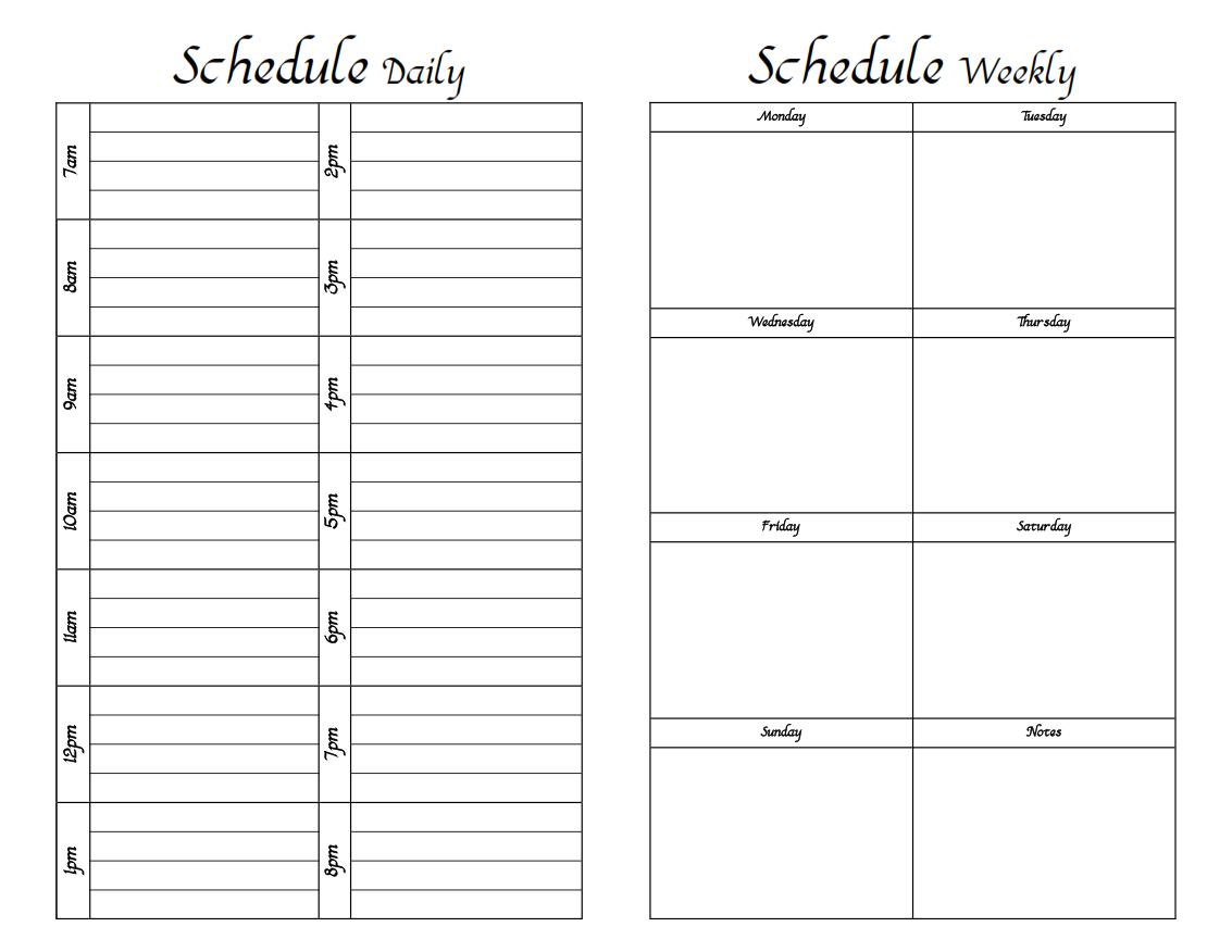 printable weekly work schedule template .