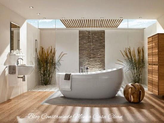 Construindo Minha Casa Clean 30 Banheiras de Imersão FreeStanding ou de Apo -> Banheiro Com Banheira E Jardim De Inverno