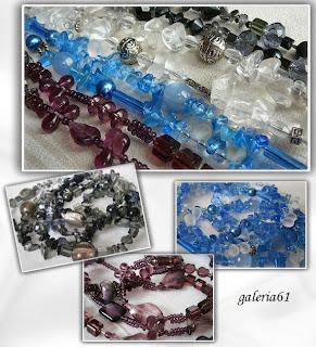 Naszyjnik niebieski - fioletowy, szkło, kamienie, porcelana