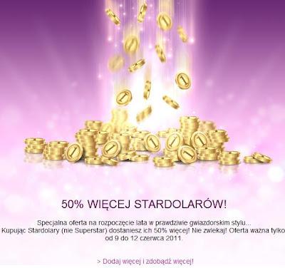 oferta 50% więcej Stardollarów