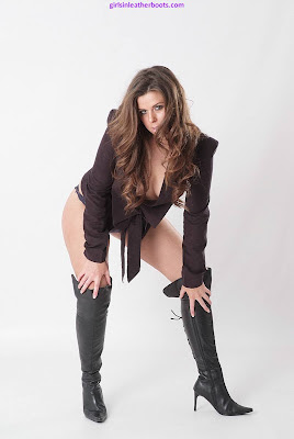 Leather High Heel Boots on Sexy Leanne