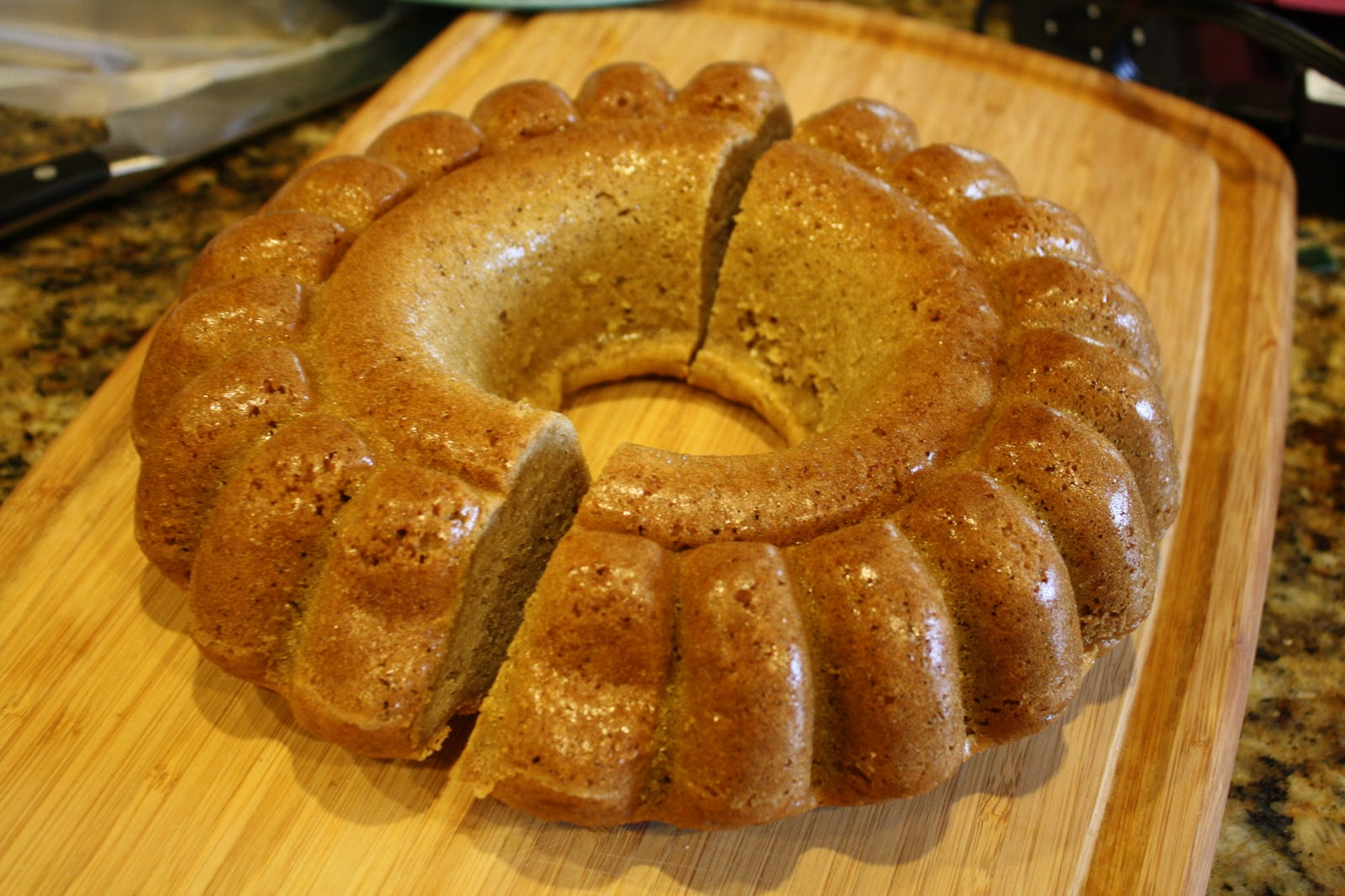 Bake Your Cake In A Bundt Pan Cutting Half