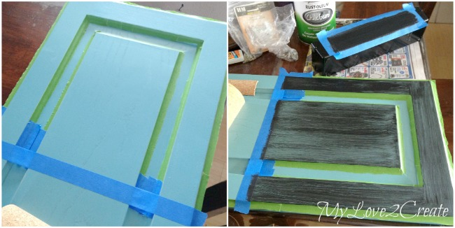 Taping off and painting chalkboard paint on cupboard door