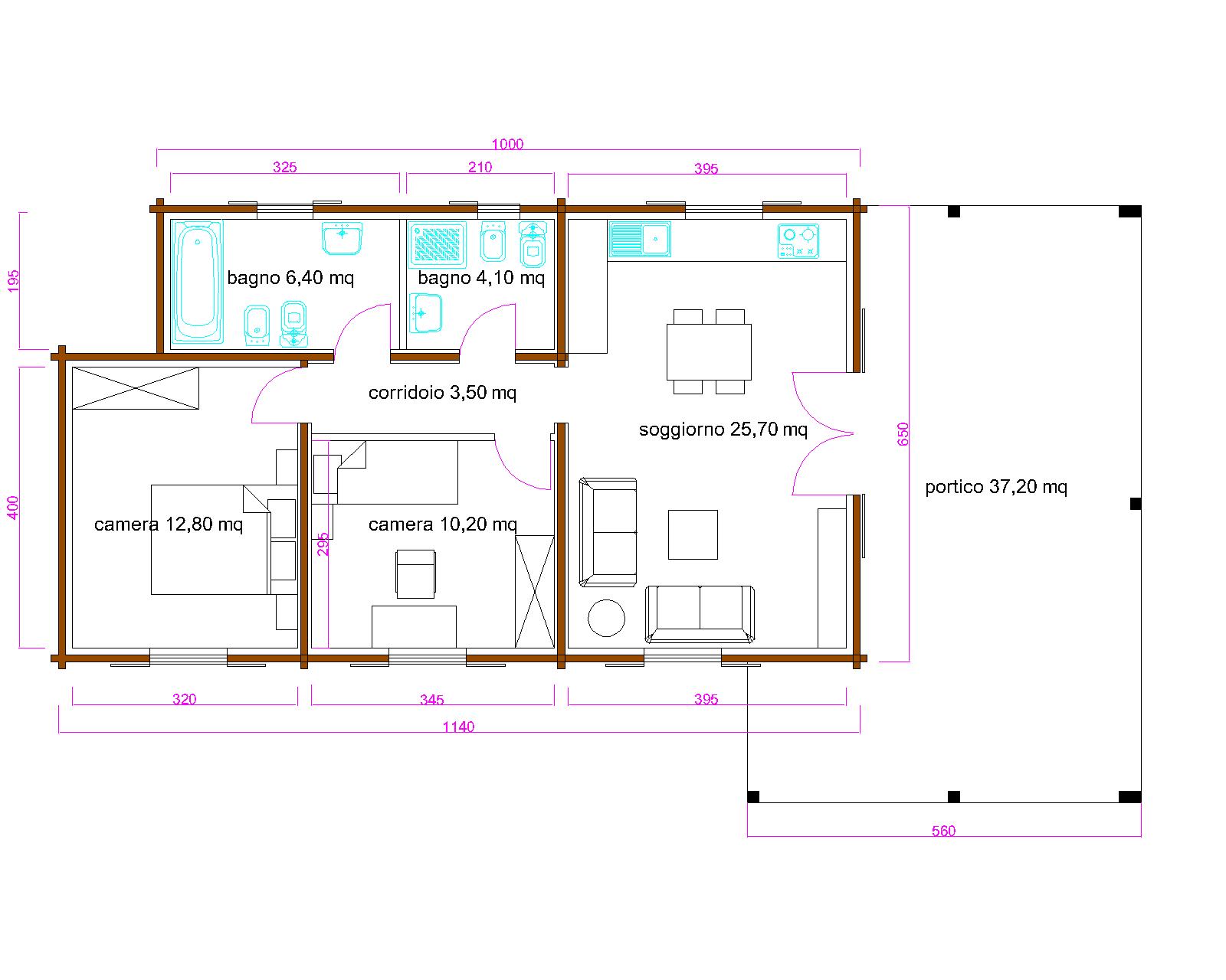 Progetti di case in legno casa blockhaus coibentata 62 mq for Progetti contemporanei di case a pianta aperta