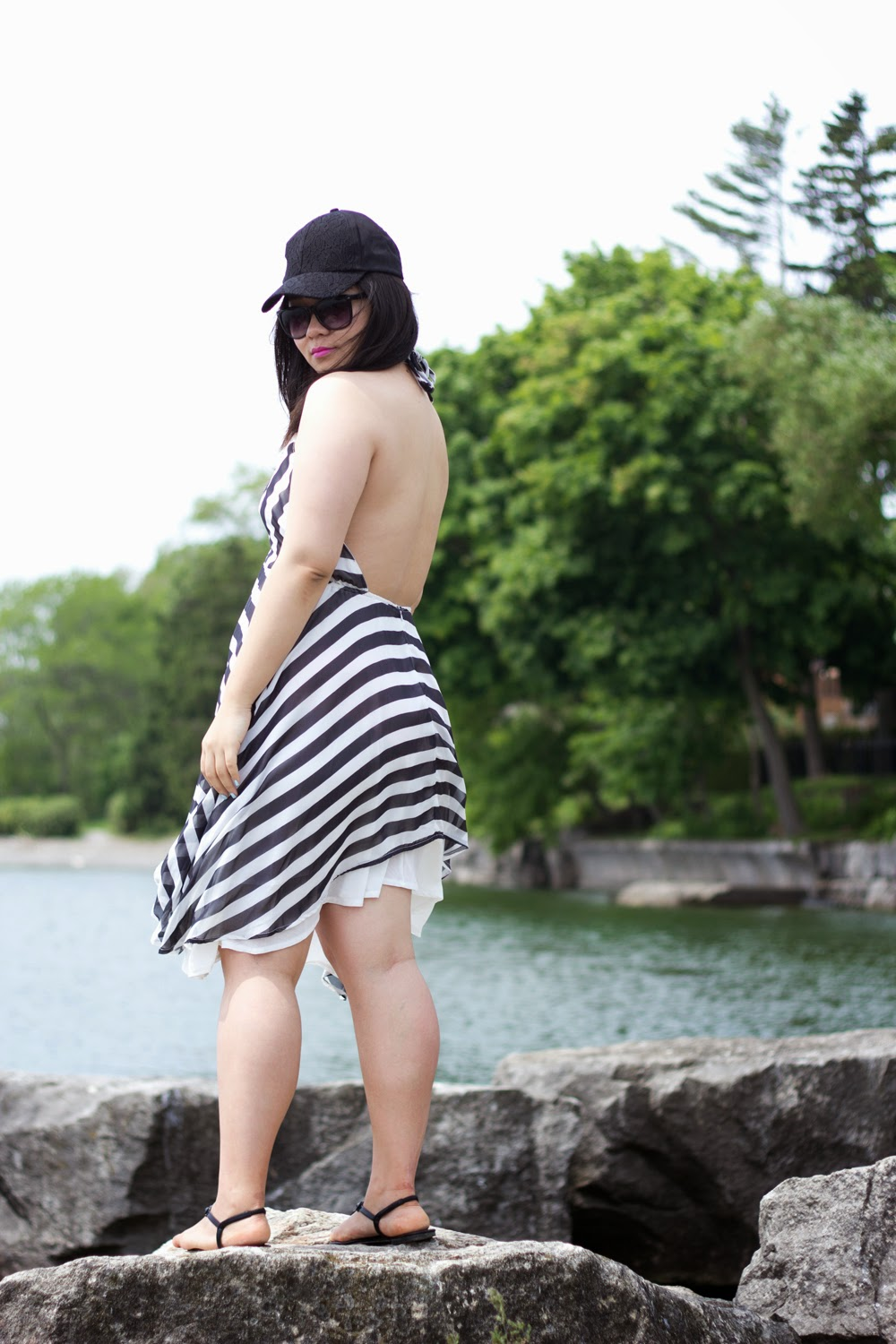 Stripe-Summer-Dress-Backless-Cut, Baseball-Cap-Lace-Details, lake-ontario