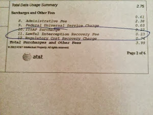 John Tate's phone bill