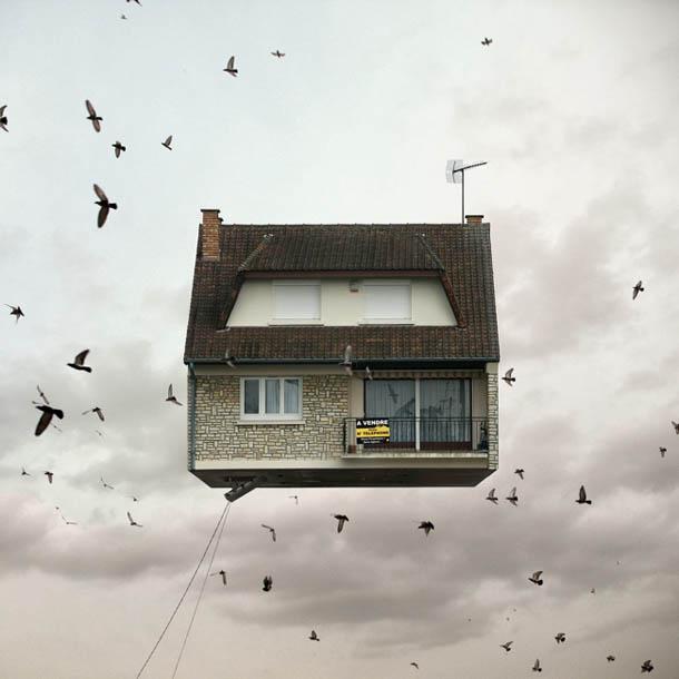 Casas Voadoras | Manipulação digital de Laurent Chehere