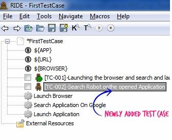 Test case added in RIDE