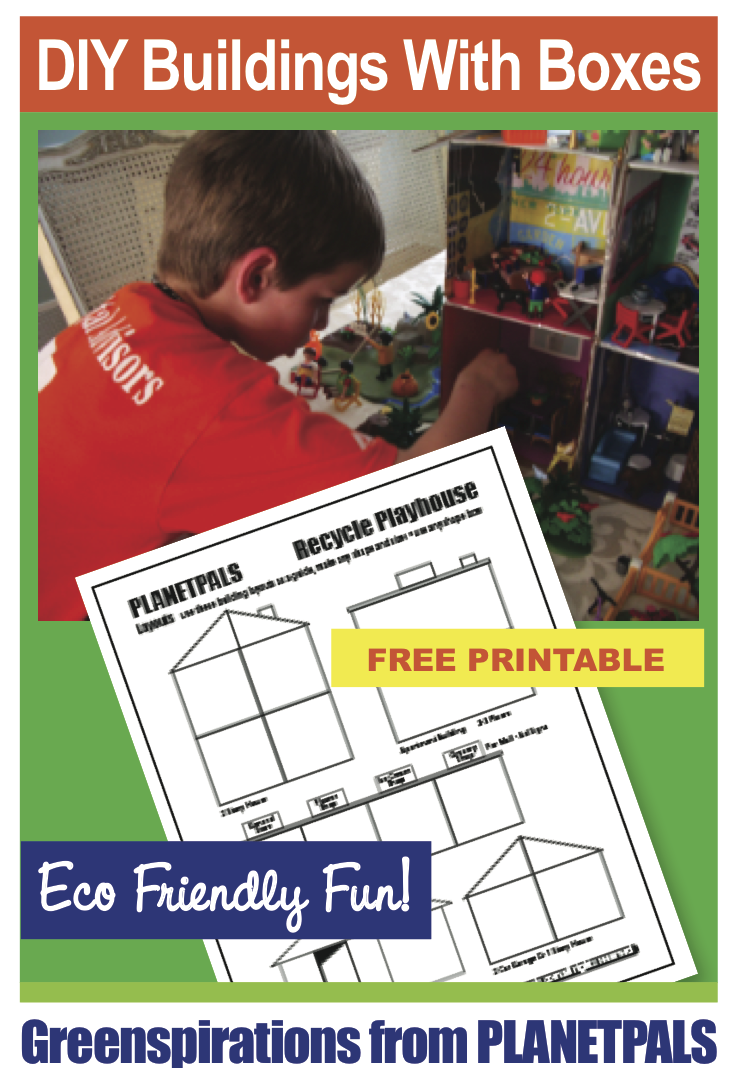 How to make doll houses or buildings from recycle boxes. Free patterns to download.  Great recycle craft project