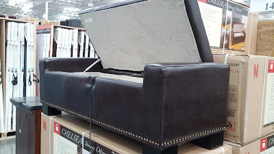 Noble House Chelsea Leather Storage Ottoman