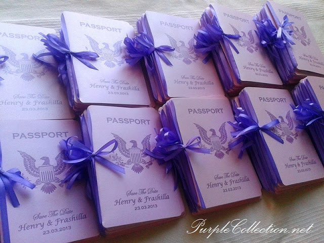 Passport Wedding Invitation Card, Passport, Passport Wedding, Invitation Card, Wedding Invitation Card, Card, Purple, Ribbon, Henry & Frashilla, Henry, Frashilla