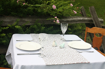 reversible gray/white and red/white trellis print table runner, extra wide and short