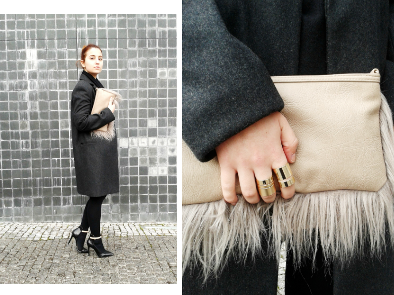 fur clutch from Blanco and minimalistic rings