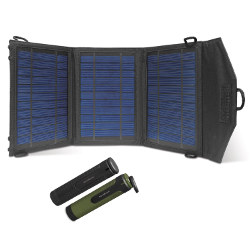 Instapark® 10 Watts Solar Panel Portable Solar Charger with Dual USB Ports for iPhone, iPad & all other USB Compatible Devices, Dual 3000 mAh Novobeam Battery Packs Included