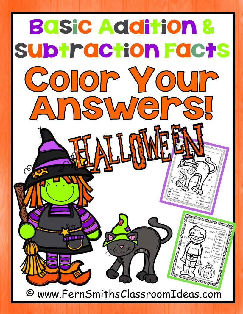 Fern Smith's Classroom Ideas Halloween Fun! Basic Addition and Subtraction - Color Your Answers at Teacherspayteachers.