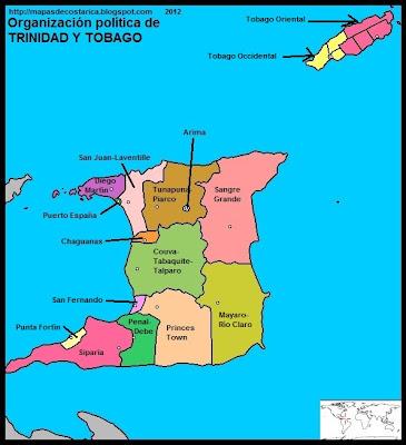 TRINIDAD Y TOBAGO, Mapa de la organización política de TRINIDAD Y TOBAGO, nombre de las regiones