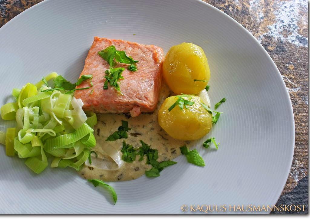 KAQUUS HAUSMANNSKOST: Klassiker: Saumon à l' oseille oder Lachs mit Sauerampfer