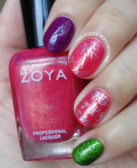 Asian Themed Stamping Skittle Nail Art