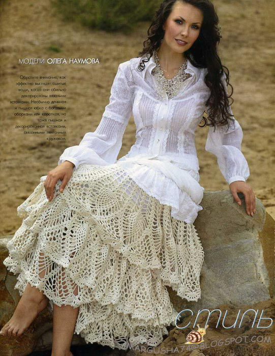 Схема вязания оборок юбки: