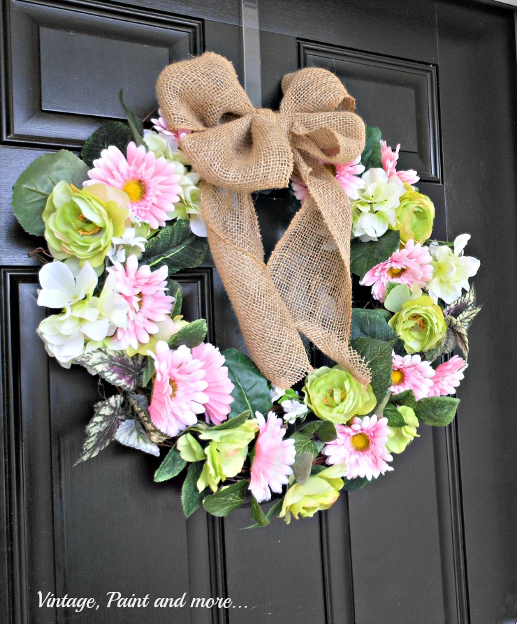 Vintage Paint and more.. Spring wreath DIY'd with faux flowers, grapevine wreath and burlap ribbon