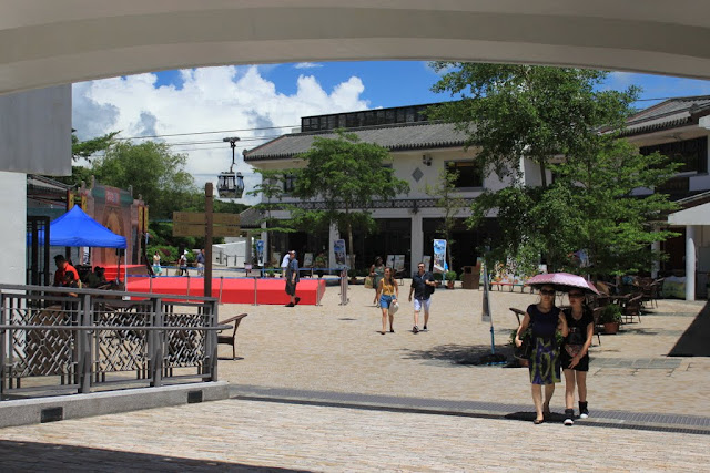 The main entrance of Ngong Ping Village with the cable car at the background in Hong Kong