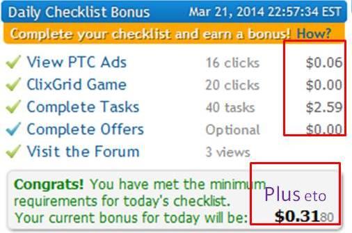 Checklist bonus in clixsense