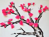 Cherry blossom Tissue paper tree craft