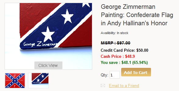 George Zimmerman Confederate Flag painting for sale Andy Hallinan