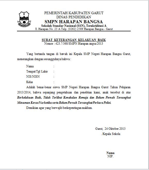 Contoh Surat Kelakuan Baik Dari Sekolah Smk Contoh Surat Kelakuan Baik Sekolah Blogna Kang