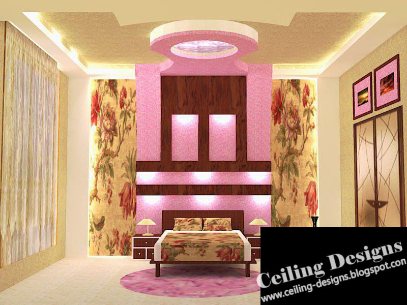 Luxury Fall Ceiling Designs For Bedrooms, With Side Lights And Decoration  From Gypsum And Wood